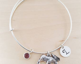 Moose Charm - Silver Adjustable Bangle  -  Personalized Initial Bracelet - Swarovski Crystal Birthstone Jewelry - Gift For Her
