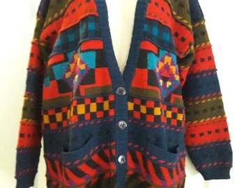 The Peruvian Connection Womens Sweater Sz. M 100% Alpaca Cardigan, Southwestern, Color block, Geometric, Vintage 80s, 90s
