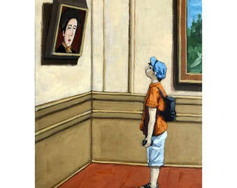 SALE! Boy at Art Museum - realistic figurative original painting