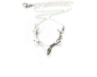 Silver Deer Necklace Antler Seen on Pretty Little Liars Spencer Hastings Antler Jewelry Woodland Rustic Elk Jewelry Silver Version Gift Idea
