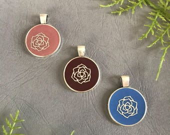 Handmade jewelry pendant necklaces, terra cotta, blue or burgundy resin with silver rose flower, gift for her, free shipping