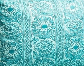 Fabric turquoise flowers Floral fabric Cotton Fabric House textilies Fabric Scandinavian Design Scandinavian Textile