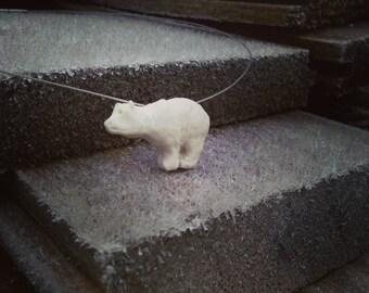 Necklace with a porcelain polar bear - porcelain sculpture