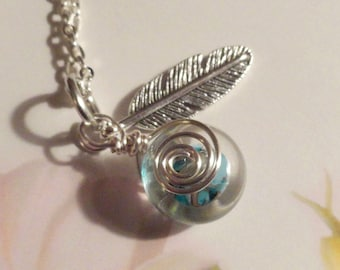 "My#167LW - A Blue Mix/Encased Clear Lampwork Bead Pendant! and Silver Chain 24""..with/Silver Spiral Wraps!  Size: 15mm.."