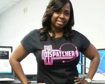 911 Dispatcher Shirts- 911 T-SHIRTS,  Thin Gold Line Law Enforcement 911 Cross  Dispatcher Gift First Responder