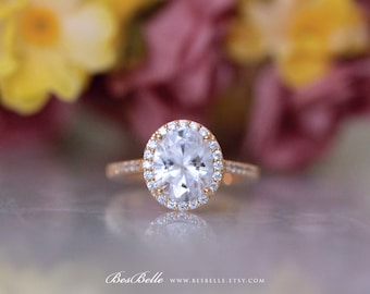 3.34 ct.tw Oval Cut Diamond Simulant-Oval Halo Engagement Ring-Bridal Ring-Wedding Ring-Rose Gold Plated-Sterling Silver [3052RG-1]