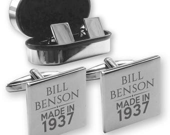 Personalised engraved 80TH BIRTHDAY cufflinks, in a chrome coloured presentation box, Made in 1937 - MAD80
