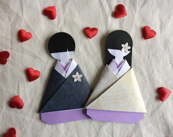 Japanese kimono bride and groom wedding favour (lilac)