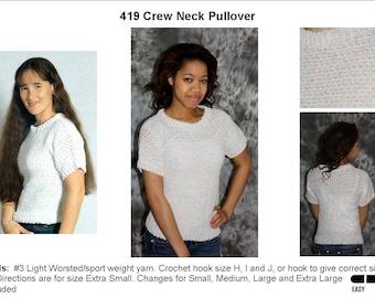 Crochet Crew Neck Pullover Pattern    419