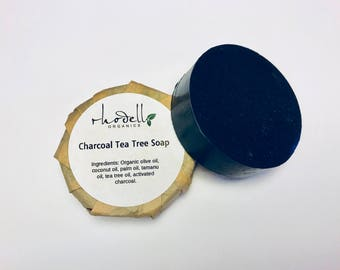 ORGANIC Charcoal, Soap, Activated, Tea Tree, Acne, Detox, Skin Care, Clay, Vegan Soap, Body Soap