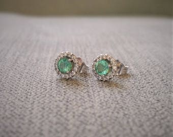 """Antique Emerald and Diamond Earrings Studs Post Posts 14K Yellow white Gold  """"The Utopia"""""""