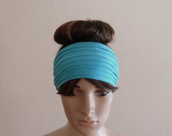 Sky Blue Headband. Wide Head Wrap