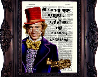 Willy Wonka Print Willy Wonka Decor Charlie and the Chocolate Factory Willy Wonka Quote Willy Wonka Birthday Party Dictionary Print C:653
