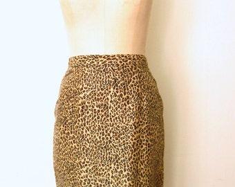 Leopard Print Skirt / Beaded Fringe Skirt / Silk Skirt / Pencil Skirt