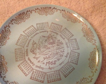 Vintage pale blue and gold 1962 China plate