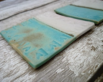 Ceramic stoneware coasters, hand made one off pottery, turquoise, white, lovehearts uk