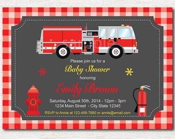 Firetruck baby shower Invitation,plaid, printable Invitation