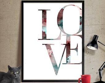 Love wall art, Love art, Typography print, Love Poster, Wall Art, Gift, Valentine, Minimalist, Decor, Mothers Day, Wedding Gift, Poster(304)