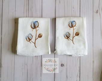 Flour Sack Towels, Kitchen Towels, Dish Towel, Cotton Boll, Free Shipping, Handmade