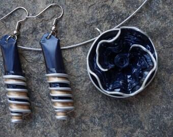 Flower Adornment capsule nespresso coffee, blue, dark blue, dark, Choker necklace and earrings