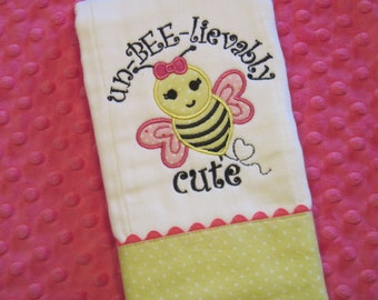 Sweet Baby Girl Un-BEE-lievably Cute BUMBLEBEE Burp Cloth