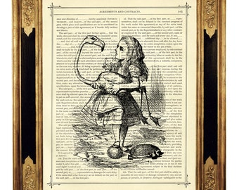 Alice in Wonderland Dictionary Art Flamingo Croquet b&w - Vintage Victorian Book Page Art Print Steampunk