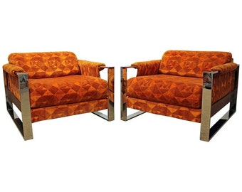 Adrian Pearsall Mid-Century Lounge Chairs Danish Modern Craft Associates Chrome Lounge Chairs