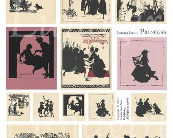 PRINCESS digital collage sheet, fairy tales magic fantasy silhouettes vintage images Victorian art illustration girls pink ephemera DOWNLOAD
