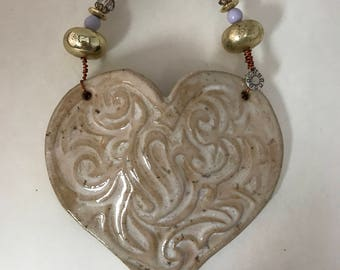 Matt White Ceramic Heart Wall Pocket
