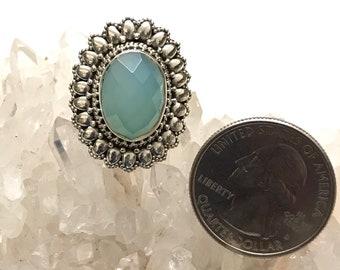 Beautiful Blue Chalcedony  Ring, Size 5 1/2