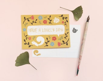 Postcard 'Have a lovely day!' | autumn, woodland | all occasions, blank greeting card | happy mail, snailmail, instaswap