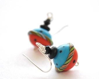 Blue Carnival Ball Earrings, Lampwork Glass Earrings, Colorful Earrings, Whimsical Jewelry