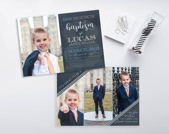 LDS Baptism Invitation - CTR Baptism Invitation - Boy Baptism Invitation - Photographer Template