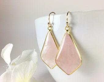 Rose Quartz Earrings Gold Rose Quartz Dangle Drop Chandelier Earrings Pink Gemstone Pendant Earrings Rose Quartz Jewelry Everyday Earrings