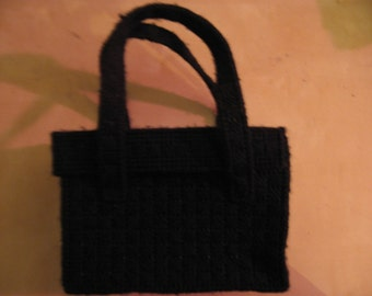 "Handmade black ""knitted"" square handbag with handles"