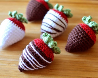 Chocolate Covered Strawberries - PDF Crochet Pattern - Instant Download
