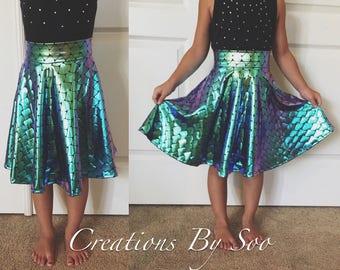 Custom Made Iridescent Mermaid Circle Skirt for Kids