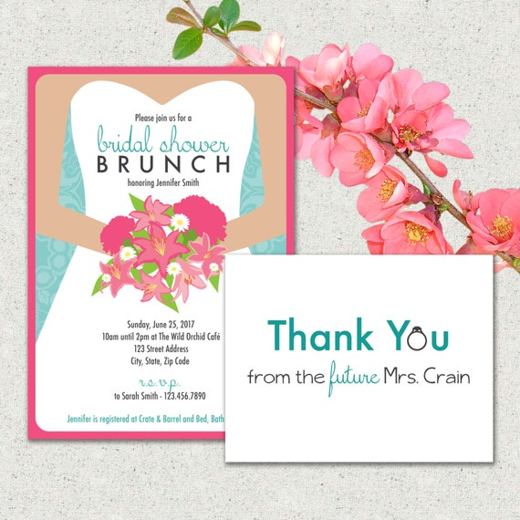 Bridal Shower Brunch Invitation andor Thank You Card Suite