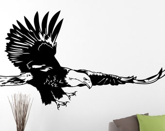 Eagle Wall Decal Bird of Prey Bald Eagle Sticker Home Wall Design Bedroom Mural Waterproof Decals 5erlo