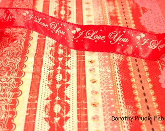Clearance FABRIC KISSING BOOTH Valentine's Day Border Print 1/2 yard
