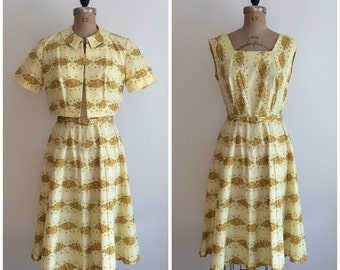 Vintage 1950s Floral Print Yellow Cotton Dress 50s Betty Hartford Garden Wedding Party