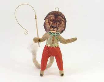 Vintage Inspired Spun Cotton Ring Master Lion Figure/Ornament (MADE TO ORDER)