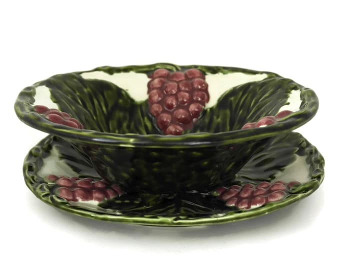 French Majolica Colander and Plate Set. Leaf, Grape & Berry Strainer. Green Ceramic Fruit Bowl. Country Kitchen Decor.