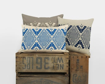 Personalized Navajo pillow case, 16x16 aztec ethnic hand printed cushion cover, 12x18 lumbar geometric tribal southwestern pillow