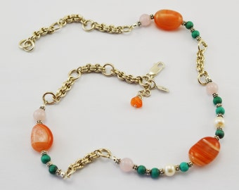 Tangerine Orange Agate Necklace - Sterling Silver Necklace - Agate, Turquoise, Pearl - Chainmaille - Birthday Gift
