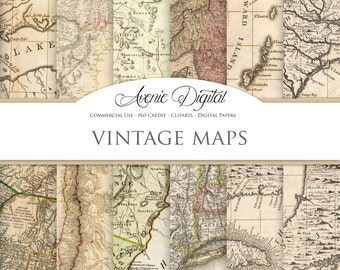 Vintage maps Digital Paper. Scrapbooking Backgrounds, Old maps patterns for Commercial Use. Worn, grungy, shabby textures. Clipart Download.