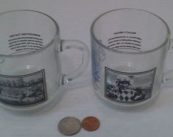 Vintage Set of 2 Different Horse Racing Glasses, Seabiscuts Big Cap Win and Pincays 7 Win Day, 2 Shelf Display Glasses, Vintage Horse Racing