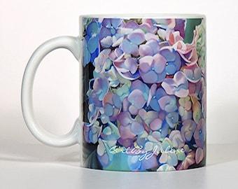 Hydrangea Mug, Shabby Chic Mug, Shabby Chic Kitchen Decor, Flower Mug