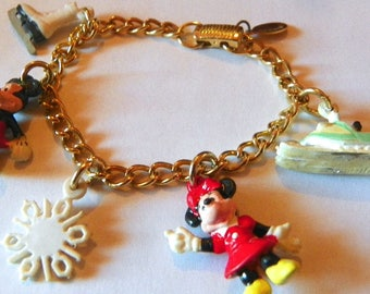 Vintage Disney Winter Charm Bracelet by Applause Ice Skating and Snow Themed