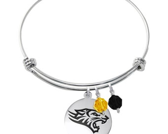 Towson University Tigers Bracelet | Stainless Steel Adjustable Bangle | Three Styles | Officially Licensed | Towson University Jewelry